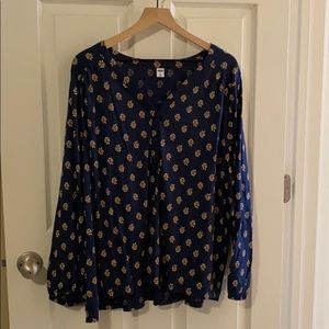 NWT - Old Navy - LS Henley Top Navy Floral